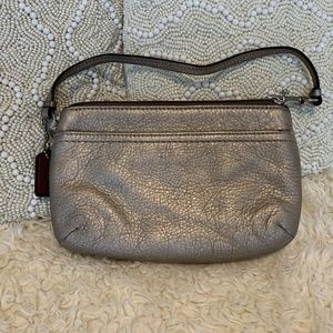 Coach Silver Leather Wristlet